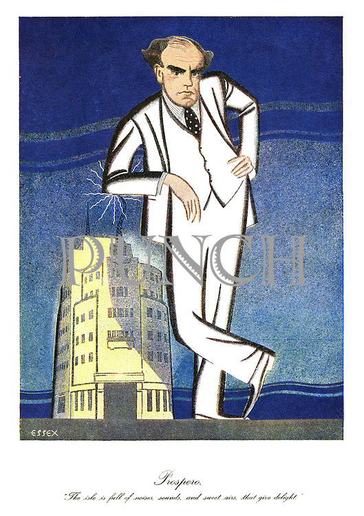 "Prospero. ""The isle is full of noises, sounds and sweet airs, that give delight."" (a cartoon shows a giant BBC Direct-General towering above the BBC headquarters in London)"