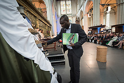 23 August 2018, Amsterdam, Netherlands: Through the symbolism of shoes, youth participants share expressions of hope, and challenges to be overcome on the Pilgrimage of Justice and Peace. Hundreds of people gather from across the world for an ecumenical prayer service at the Nieuwe Kerk, a 15th-century church in Amsterdam, to celebrate the 70th anniversary of the World Council of Churches at the very spot in which the organization was founded. Under the theme ìWalking, Praying and Working Together,î pilgrims from all over the world attend the service.