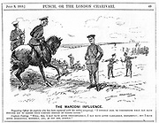 Marconi shares scandal: Marconi was found not guilty of intentional dishonesty, although considered naïve. The share dealing scandal involved nearly brought about Lloyd George's ruin. 'Punch's' idea of the same principle applied to army exercises. 'Punch', London, 9 July 1913.