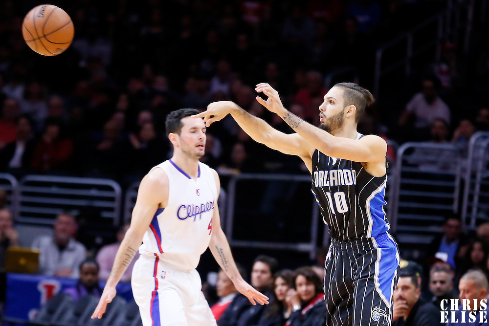 03 December 2014: Orlando Magic guard Evan Fournier (10) passes the ball during the Los Angeles Clippers 114-86 victory over the Orlando Magic, at the Staples Center, Los Angeles, California, USA.