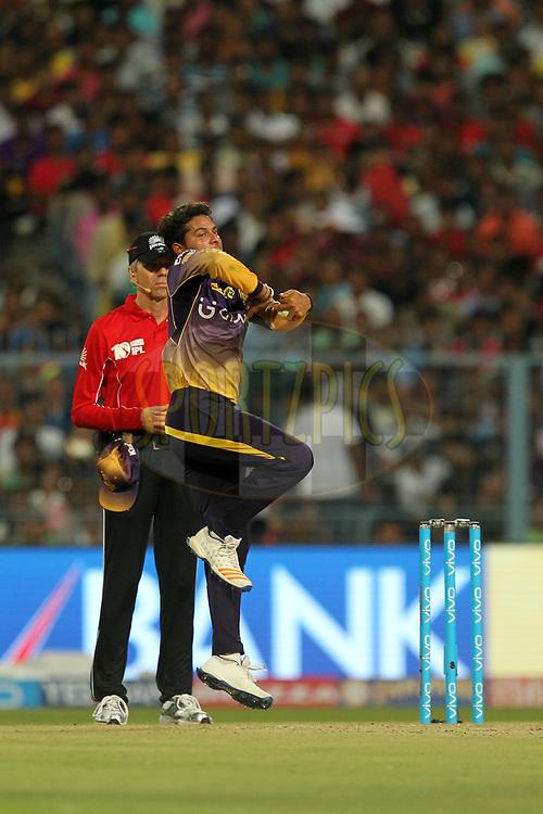 Kuldeep Yadav of  Kolkata Knight Riders during match 14 of the Vivo 2017 Indian Premier League between the Kolkata Knight Riders and the Sunrisers Hyderabad  held at the Eden Gardens Stadium in Kolkata, India on the 15th April 2017Photo by Prashant Bhoot - Sportzpics - IPL