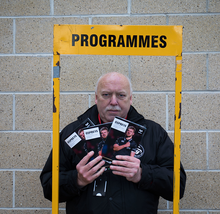 A programme seller outside of the stadium <br /> <br /> Photographer Simon King/Replay Images<br /> <br /> Guinness PRO14 Round 13 - Ospreys v Cardiff Blues - Saturday 6th January 2018 - Liberty Stadium - Swansea<br /> <br /> World Copyright © Replay Images . All rights reserved. info@replayimages.co.uk - http://replayimages.co.uk