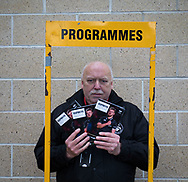 A programme seller outside of the stadium <br /> <br /> Photographer Simon King/Replay Images<br /> <br /> Guinness PRO14 Round 13 - Ospreys v Cardiff Blues - Saturday 6th January 2018 - Liberty Stadium - Swansea<br /> <br /> World Copyright &copy; Replay Images . All rights reserved. info@replayimages.co.uk - http://replayimages.co.uk