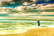 Digital Painting of a man fishing pn a beach.