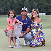 Jason Day, Australia, with his wife Ellie and son Dash with the trophy after winning the The Barclays Golf Tournament by six shots at The Plainfield Country Club, Edison, New Jersey, USA. 30th August 2015. Photo Tim Clayton