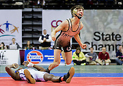 Lanthrop's Caleb Osborn celebrates after defeating Maplewood's Romelle Person in the 120-pound championship match during the 2014 MSHSAA Class 1 Wrestling Championships at Mizzou Arena on February 22, 2014 in Columbia. (David Welker/For the News-Press)