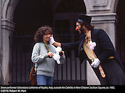 Sebastiano Lo Manto, a street peformer from Naples, Italy, outside the Cabildo in New Orleans, La., ca. 1982.