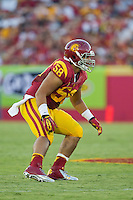 01 September 2012: Defensive end (58) J.R. Tavai of the USC Trojans against the Hawaii Warriors during the second half of USC's  49-10 victory over Hawaii at the Los Angeles Memorial Coliseum in Los Angeles, CA.