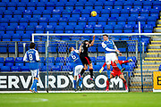 St Johnstone forward Steven MacLean (#9) heads clear from a corner during the Betfred Scottish Cup match between St Johnstone and Partick Thistle at McDiarmid Stadium, Perth, Scotland on 8 August 2017. Photo by Craig Doyle.
