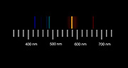 The atomic emission spectra of Helium gas. <br />