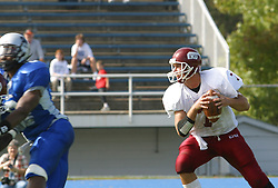 12 October 2002: Travis Turner looks downfield for a receiver.  Eastern Illinois University Panthers host and defeat the Colonels of Eastern Kentucky during EIU's Homecoming at Charleston Illinois.