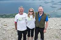 22/06/2014 John Lalwor,Tullamore,  Ciara Tallon, SHA  and Andrew Russell Dublin who climbed the  765 metre Croagh Patrick in Mayo as part of the 30th Anniversary Celebrations of  Self Help Africa and to support the work of Self Help Africa in 10 countries in Africa. Photo: Andrew Downes