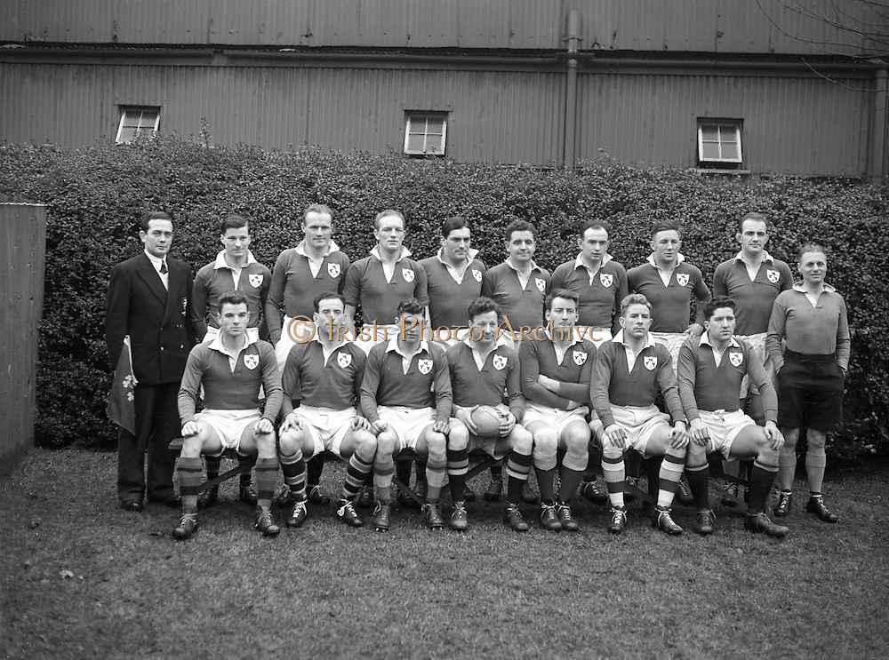 Irish Rugby Football Union, Ireland v England, Five Nations, Landsdowne Road, Dublin, Ireland, Saturday 14th February, 1953,.14.2.1953, 2.14.1953,..Referee- MR A W C Austin, Scottish Rugby Union, ..Score- Ireland 9 - 9 England, ..Irish Team,..R J Gregg, Wearing number 15 Irish jersey, Full Back, Queens University Rugby Football Club, Belfast, Northern Ireland,..M F Lane,  Wearing number 14 Irish jersey, Right wing, University college Cork Football Club, Cork, Ireland,  ..N J Henderson, Wearing number 13 Irish jersey, Right centre, N.I.F.C, Rugby Football Club, Belfast, Northern Ireland,..K Quinn, Wearing number 12 Irish jersey, Left Centre, Old Belvedere Rugby Football Club, Dublin, Ireland,  ..M Mortell, Wearing number 11 Irish jersey, Left wing, Bective Rangers Rugby Football Club, Dublin, Ireland,. . J W Kyle, Wearing number 10 Irish jersey, Stand Off, Captain of the Irish team, N.I.F.C, Rugby Football Club, Belfast, Northern Ireland,..J A O'Meara, Wearing number 9 Irish jersey, Scrum, University college Cork Football Club, Cork, Ireland,  ..W A O'Neill, Wearing number 1 Irish jersey, Forward, University College Dublin Rugby Football Club, Dublin, Ireland, ..R Roe, Wearing number 2 Irish jersey, Forward, Dublin University Rugby Football Club, Dublin, Ireland,..F E Anderson, Wearing number 3 Irish jersey, Forward, Queens University Rugby Football Club, Belfast, Northern Ireland,..T E Reid, Wearing number 4 Irish jersey, Forward, Garryowen Rugby Football Club, Limerick, Ireland, ..J R Brady, Wearing number 5 Irish jersey, Forward, C I Y M S Rugby Football Club, Belfast, Northern Ireland, .  J S McCarthy, Wearing number 6 Irish jersey, Forward, Dolphin Rugby Football Club, Cork, Ireland, ..R Kavanagh, Wearing number 7 Irish jersey, Forward, University College Dublin Rugby Football Club, Dublin, Ireland,..W E Bell, Wearing number 8 Irish jersey, Forward, Collegians Rugby Football Club, Belfast, Northern Ireland,.
