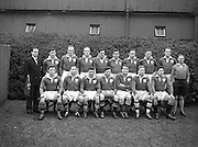 Irish Rugby Football Union, Ireland v England, Five Nations, Landsdowne Road, Dublin, Ireland, Saturday 14th February, 1953,.14.2.1953, 2.14.1953,..Referee- MR A W C Austin, Scottish Rugby Union, ..Score- Ireland 9 - 9 England, ..Irish Team,..R J Gregg, Wearing number 15 Irish jersey, Full Back, Queens University Rugby Football Club, Belfast, Northern Ireland,..M F Lane,  Wearing number 14 Irish jersey, Right wing, University college Cork Football Club, Cork, Ireland,  ..N J Henderson, Wearing number 13 Irish jersey, Right centre, N.I.F.C, Rugby Football Club, Belfast, Northern Ireland,..K Quinn, Wearing number 12 Irish jersey, Left Centre, Old Belvedere Rugby Football Club, Dublin, Ireland,  ..M Mortell, Wearing number 11 Irish jersey, Left wing, Bective Rangers Rugby Football Club, Dublin, Ireland,. . J W Kyle, Wearing number 10 Irish jersey, Stand Off, Captain of the Irish team, N.I.F.C, Rugby Football Club, Belfast, Northern Ireland,..J A O'Meara, Wearing number 9 Irish jersey, Scrum, University college Cork Football Club, Cork, Ireland,  ..W A O'Neill, Wearing number 1 Irish jersey, Forward, University College Dublin Rugby Football Club, Dublin, Ireland, ..R Roe, Wearing number 2 Irish jersey, Forward, Dublin University Rugby Football Club, Dublin, Ireland,..F E Anderson, Wearing number 3 Irish jersey, Forward, Queens University Rugby Football Club, Belfast, Northern Ireland,..T E Reid, Wearing number 4 Irish jersey, Forward, Garryowen Rugby Football Club, Limerick, Ireland, ..J R Brady, Wearing number 5 Irish jersey, Forward, C I Y M S Rugby Football Club, Belfast, Northern Ireland, .  J S McCarthy, Wearing number 6 Irish jersey, Forward, Dolphin Rugby Football Club, Cork, Ireland, ..R Kavanagh, Wearing number 7 Irish jersey, Forward, University College Dublin Rugby Football Club, Dublin, Ireland,..W E Bell, Wearing number 8 Irish jersey, Forward, Collegians Rugby Football Club, Belfast, Northern Ireland,.