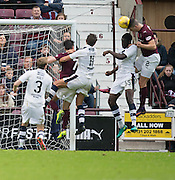 Hearts&rsquo; Callum Paterson heads home the opening goal - Hearts v Dundee, Ladbrokes Scottish Premiership at Tynecastle, Edinburgh. Photo: David Young<br /> <br />  - &copy; David Young - www.davidyoungphoto.co.uk - email: davidyoungphoto@gmail.com