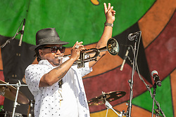 May 3, 2018 - New Orleans, Louisiana, U.S - KERMIT RUFFINS during 2018 New Orleans Jazz and Heritage Festival at Race Course Fair Grounds in New Orleans, Louisiana (Credit Image: © Daniel DeSlover via ZUMA Wire)