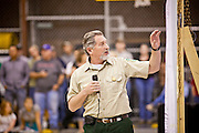 "03 JUNE 2011 - SPRINGERVILLE, AZ: Chris Knobb (CQ) from the US Forest Service uses a map at the community meeting in Round Valley Middle School to describe activity on the fire line for the Wallow Fire. High winds and temperatures have continued to complicate firefighters' efforts to get the Wallow fire under control. The  mandatory evacuation order for Alpine was extended to Nutrioso, about 10 miles north of Alpine and early Friday morning fire was reported on the south side of Nutrioso. The fire grew to more than 106,000 acres early Friday with zero containment. A ""Type I"" incident command team has been called in to manage the fire.   PHOTO BY JACK KURTZ"