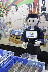 June 15, 2018 - Tokyo, Japan - A humanoid robot Pepper promotes Japanese food during the International Food Machinery and Technology Exhibition (FOOMA JAPAN) in Tokyo Big Sight, Tokyo, Japan. The annual exhibition introduces 798 companies' latest products and services for food processing industry distributed in 8 halls of Tokyo Big Sight. FOOMA JAPAN runs from June 12 to 15. (Credit Image: © Rodrigo Reyes Marin/via ZUMA Wire via ZUMA Wire)