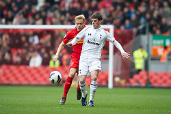 LIVERPOOL, ENGLAND - Easter Monday, April 1, 2013: Liverpool's Craig Roddan in action against Tottenham Hotspur's Kenneth McEvoy during the Under 21 FA Premier League match at Anfield. (Pic by David Rawcliffe/Propaganda)