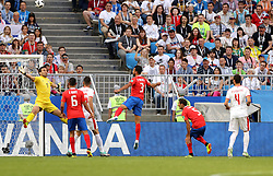 SAMARA, June 17, 2018  Goalkeeper Vladimir Stojkovic (1st L) of Serbia tries to save the ball during a group E match between Costa Rica and Serbia at the 2018 FIFA World Cup in Samara, Russia, June 17, 2018. (Credit Image: © Fei Maohua/Xinhua via ZUMA Wire)