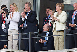 26.06.2011, Olympiastadion Berlin, Berlin, GER, FIFA Women's Worldcup 2011, Gruppe A,  Deutschland (GER) vs. Canada (CAN), im Bild Jubel auf der Ehrentribuene .li Bettina Wulff, Christian Wulff, Angela Merkel  // during the FIFA Women's Worldcup 2011, Pool A, Germany vs Canada on 2011/06/26, Olympiastadion, Berlin, Germany.   EXPA Pictures © 2011, PhotoCredit: EXPA/ nph/  Kokenge       ****** out of GER / SWE / CRO  / BEL ******