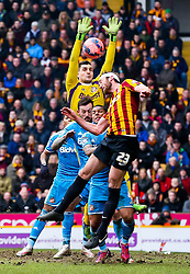 Bradford City's Rory McArdle challenges Sunderland Goalkeeper Vito Mannone   - Photo mandatory by-line: Matt McNulty/JMP - Mobile: 07966 386802 - 15/02/2015 - SPORT - Football - Bradford - Valley Parade - Bradford City v Sunderland - FA Cup - Fifth Round