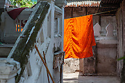 Buddhist monk robe hanging at monastery.