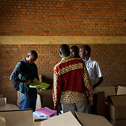 Members of Burundi's National Electoral Commission prepare the last details of the upcoming parliamentary elections, in a classroom to be used as a poling station in Cibitoke neighbourhood, Bujumbura, June 28th, 2015.