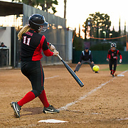 02 March 2018: San Diego State softball hosts Minnesota on day two of the San Diego Classic I at Aztec Softball Stadium. San Diego State infielder Katie Byrd (11) a bases clearing triple after the center fielder miss played the ball giving the Aztecs a 5-2 lead. The Aztecs beat the #21/20 Gophers 6-2.<br /> More game action at sdsuaztecphotos.com