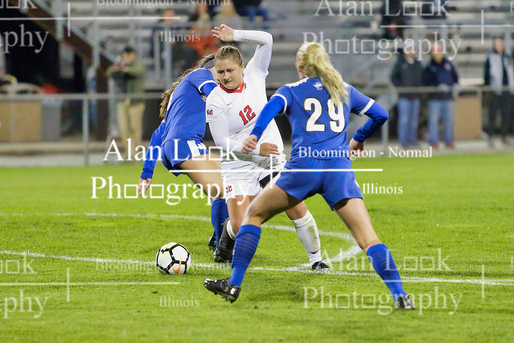NORMAL, IL - October 17:  Nataline Vaughn-Low during an NCAA Missouri Valley Conference (MVC)  women's soccer match between the Indiana State Sycamores and the Illinois State Redbirds October 17 2018 on Adelaide Street Field in Normal IL (Photo by Alan Look)