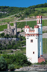 Historic Ehrenfels Castle and Mauseturm or Mouse Tower at Bingen on River Rhine in Germany