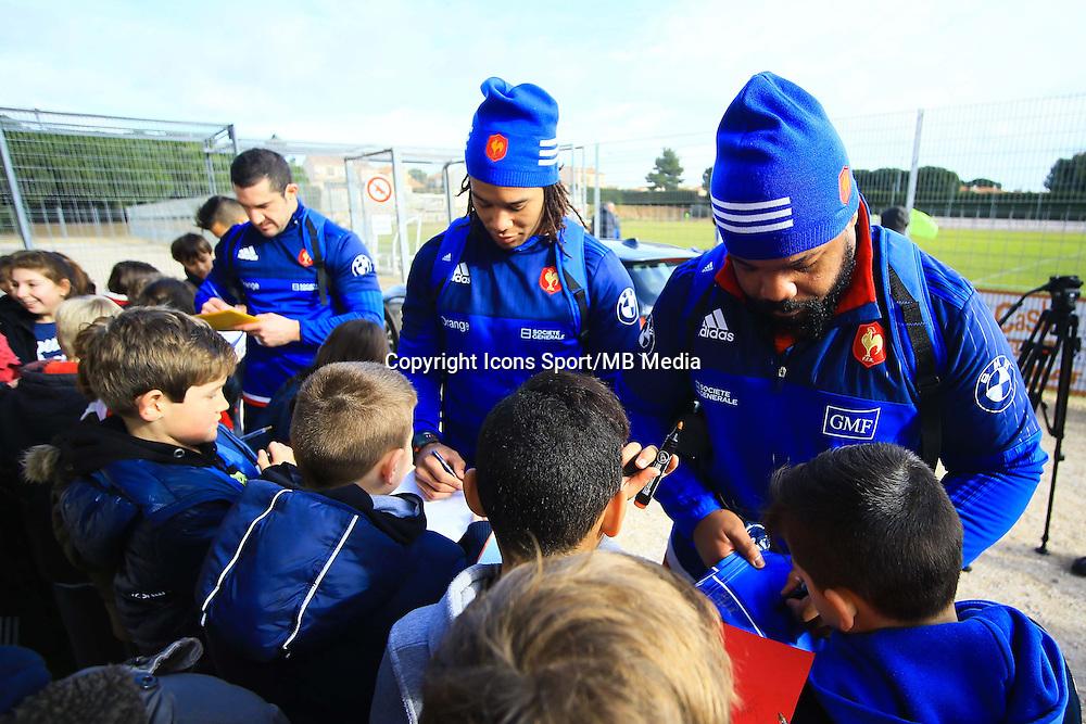 Teddy Thomas / Mathieu Bastareaud - 27.01.2015 - Entrainement XV de France - Canet en Rousillon -<br />Photo : Nicolas Guyonnet / Icon Sport