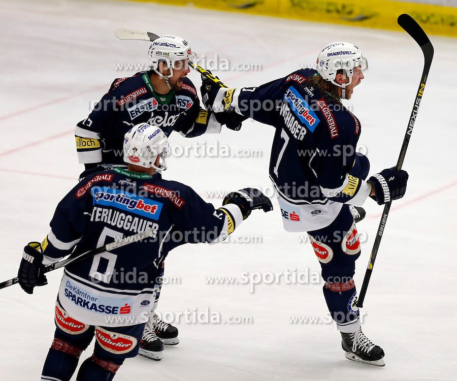 28.02. 2016, Stadthalle, Villach, AUT, EBEL, EC VSV vs UPC Vienna Capitals, Viertelfinale, 2. Spiel, im Bild der Jubel von Peter Robin Weihager (VSV), Ziga Pance (VSV) und Gerhard Unterluggauer (VSV) // during the Erste Bank Icehockey League 2nd quarterfinal match between EC VSV vs UPC Vienna Capitals at the City Hall in Villach, Austria on 2016/02/28, EXPA Pictures © 2016, PhotoCredit: EXPA/ Oskar Hoeher