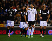 VALENCIA, SPAIN - APRIL 20: Ever Banega of Valencia CF reacts during the Liga BBVA between Valencia CF and Malaga CF at the Mestalla stadium on April 20, 2013 in Valencia, Spain. (Photo by Aitor Alcalde Colomer).