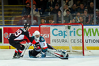 KELOWNA, CANADA - JANUARY 4:  James Porter #1 of the Kelowna Rockets misses a shoot out save on a shot by Vladislav Mikhalchuk #29 of the Prince George Cougars on January 4, 2019 at Prospera Place in Kelowna, British Columbia, Canada.  (Photo by Marissa Baecker/Shoot the Breeze)