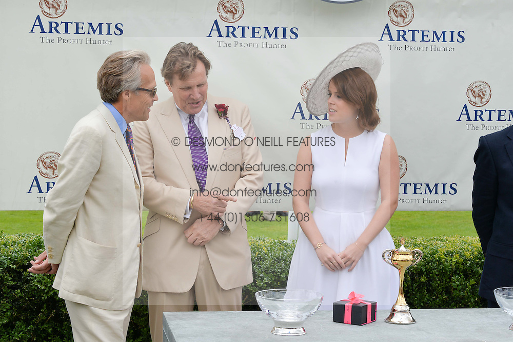 Left to right, the EARL OF MARCH, THEO FENNELL and HRH PRINCESS EUGENIE OF YORK at the Qatar Goodwood Festival - Ladies Day held at Goodwood Racecourse, West Sussex on 30th July 2015.