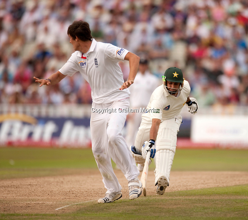 Saeed Ajmal in past bowler Steven Finn during the second npower Test Match between England and Pakistan at Edgbaston, Birmingham.  Photo: Graham Morris (Tel: +44(0)20 8969 4192 Email: sales@cricketpix.com) 08/08/10