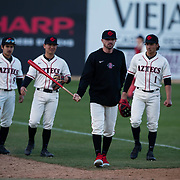 24 February 2018: The San Diego State Aztec baseball team competes in day two of the Tony Gwynn legacy tournament against #4 Arkansas. The Aztecs dropped a close game to the Razorbacks 4-2. <br /> More game action at sdsuaztecphotos.com