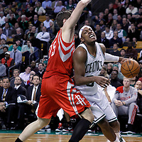 06 March 2012: Boston Celtics small forward Paul Pierce (34) drives past Houston Rockets forward Chandler Parsons (25) during the Boston Celtics 97-92 (OT) victory over the Houston Rockets at the TD Garden, Boston, Massachusetts, USA.