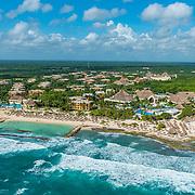 Aerial view of the Grand Bahia Principe Akumal. Riviera Maya, Mexico.