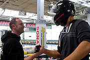 (L) Racing driver Tomasz Kuchar and (R) Jerzy Janowicz of Poland while GoKarts Racing on F1 Karting Track four days before the BNP Paribas Davis Cup 2014 between Poland and Croatia in Warsaw on March 31, 2014.<br /> <br /> Poland, Warsaw, March 31, 2014<br /> <br /> Picture also available in RAW (NEF) or TIFF format on special request.<br /> <br /> For editorial use only. Any commercial or promotional use requires permission.<br /> <br /> Mandatory credit:<br /> Photo by &copy; Adam Nurkiewicz / Mediasport