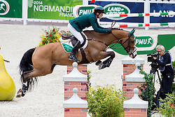 Cameron Hanley, (IRL), Antello Z - Team & Individual Competition Jumping Speed - Alltech FEI World Equestrian Games™ 2014 - Normandy, France.<br /> © Hippo Foto Team - Leanjo De Koster<br /> 02-09-14