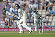 Stuart Broad of England look behind as he is caught by Rishabh Pant during the fourth day of the 4th SpecSavers International Test Match 2018 match between England and India at the Ageas Bowl, Southampton, United Kingdom on 2 September 2018.