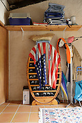 American flag draped over a wine rack