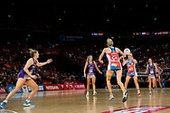 SYDNEY, AUSTRALIA - AUGUST 24: Maddy Turner of the Swifts passes the ball to Helen Housby of the Swifts during the round 14 Super Netball match between the Swifts and the Queensland Firebirds at Qudos Bank Arena on August 24, 2019 in Sydney, Australia.(Photo by Speed Media/Icon Sportswire)