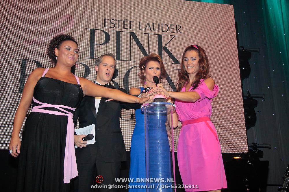 NLD/Amsterdam/20110929 - Inloop Estee Lauder Pink Ribbon Award Gala 2011 in de Beurs van Berlage, Inauguratie van de Beurs van Berlage door Anita Doth, vertegenwoordiger Estee lauder, Leontien Borsato en Quinty Trustfull