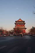 The Drum tower seen during an evening of winter , Beijing, China