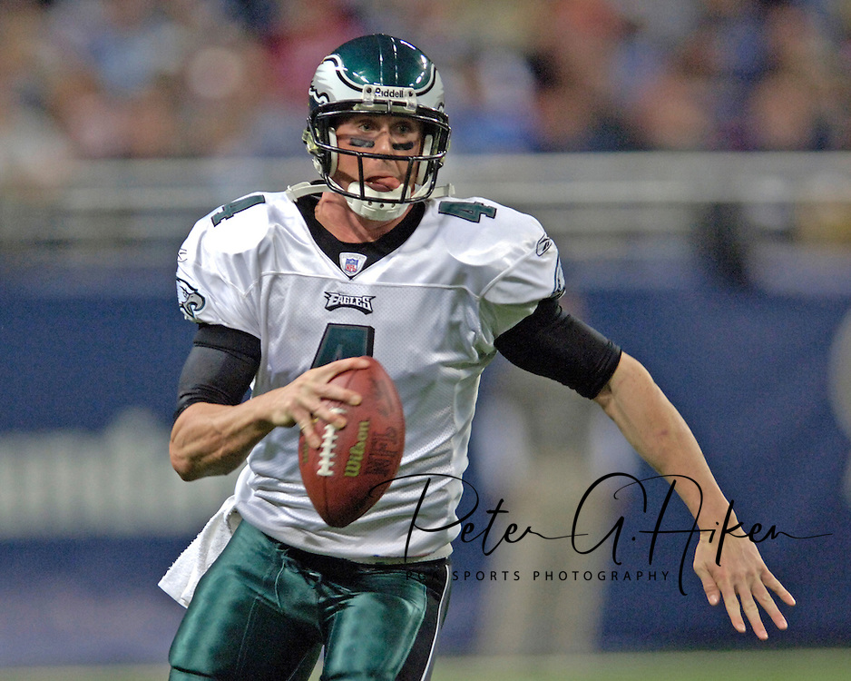 Philadelphia Eagles quarterback Mike McMahon rushes up field in the first half against the St. Louis Rams, at the Edward Jones Dome in St. Louis, Missouri, December 18, 2005.  The Eagles beat the Rams 17-16.