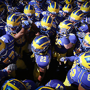 Delaware Linebacker Leon Jackson (22) (Middle) attempts to get his teammates fired up prior to the start of a Week 3 NCAA football game against Bucknell University...#13 Delaware defeated The Bison of Bucknell 19 - 3 at Delaware Stadium Saturday Sept. 15, 2012 in Newark Delaware.