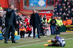 West Ham Manager Sam Allardyce looks on as Enner Valencia lays on the ground - Photo mandatory by-line: Rogan Thomson/JMP - 07966 386802 - 25/01/2015 - SPORT - FOOTBALL - Bristol, England - Ashton Gate Stadium - Bristol City v West Ham United - FA Cup Fourth Round Proper.